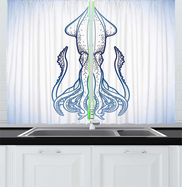 Kraken Decor Kitchen Curtains Squid Figure In Classic Line Art Style Graphic Nautical Marine Creature Image Window Decor