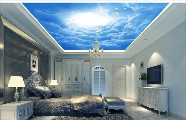 Moderne fantasy ciel nuages pigeons perspective plafond fresque 3d papier peint salon maison décoration mural 3d