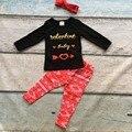 Новорожденных девочек день святого валентина outftis детей Валентина детские стрелка топ красный Ацтеков брюки для детей девушки одежды с соответствующими оголовье