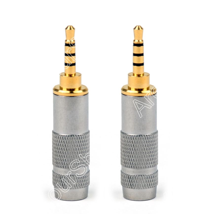 Areyourshop Sale 2PCS 2.5mm Male Stereo 4 Pole Repair Headphone Plug Cable Audio Adapter Converter S areyourshop audio connector 3 5mm stereo 4 pole right angle male jack plug audio soldering cable 1pc