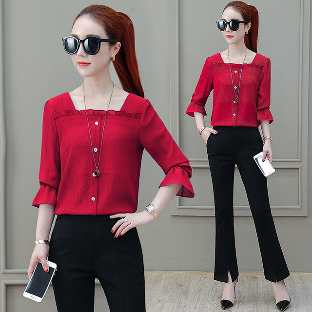 Women Spring Summer Style Chiffon Blouses Shirts Lady Casual Half Sleeve Solid Color Square Collar Blusas Tops DF2303 5