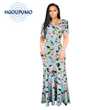 High 2018S-5XLQuality New Fashion Designer Maxi Dress Womens half Sleeve deep v neck Printed Celebrity Party Long