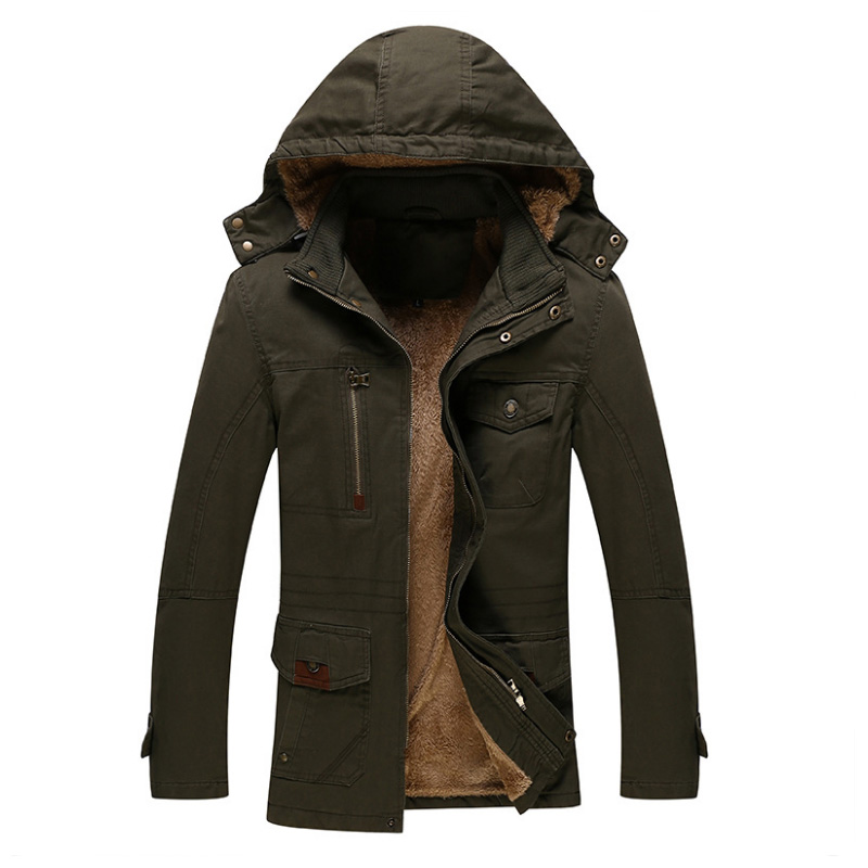 New 2017 Jackets Men Warm Cotton Parka Coat Winter Jackets Men Long Washed Hooded Parka Men Casual Thick Velvet Outwear