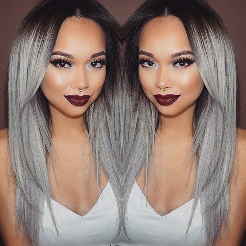 180% Density Synthetic Wigs Straight Lace Front Wig Heat Resistant Grey wigs Ombre Hair Black Women Perruque - IM Queen Store store