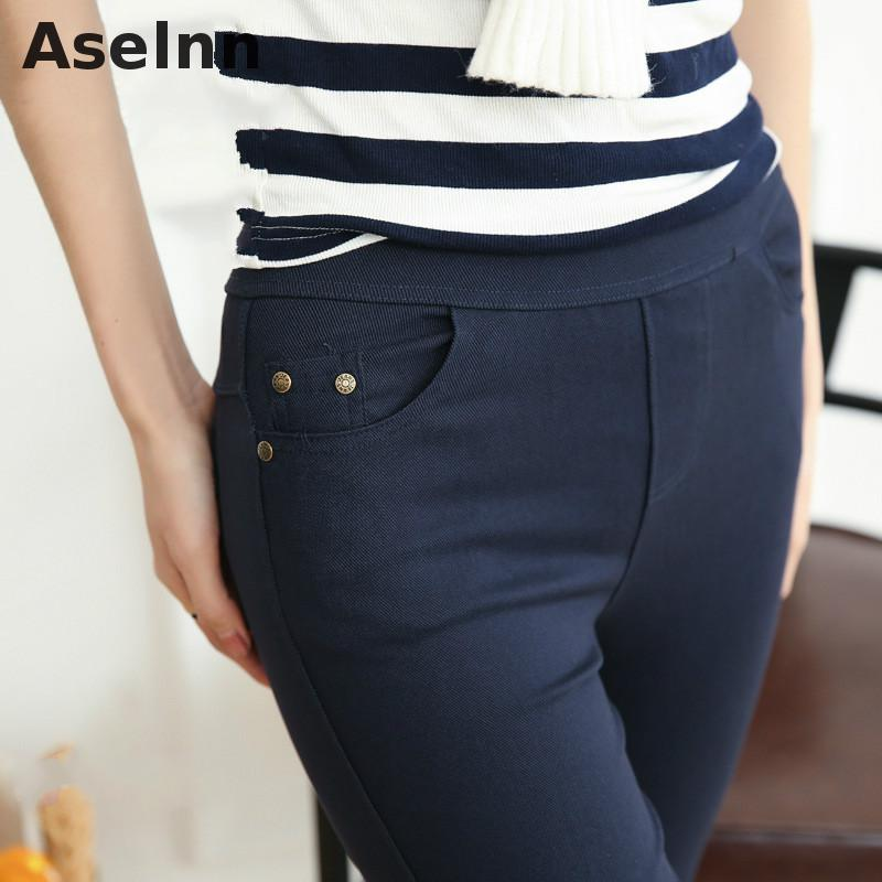 Aselnn 2018 Autumn&winter New Fahison Plus Size Women Pencil Pants Elastic Thickened Button Trousers M-5xl White Black Pants