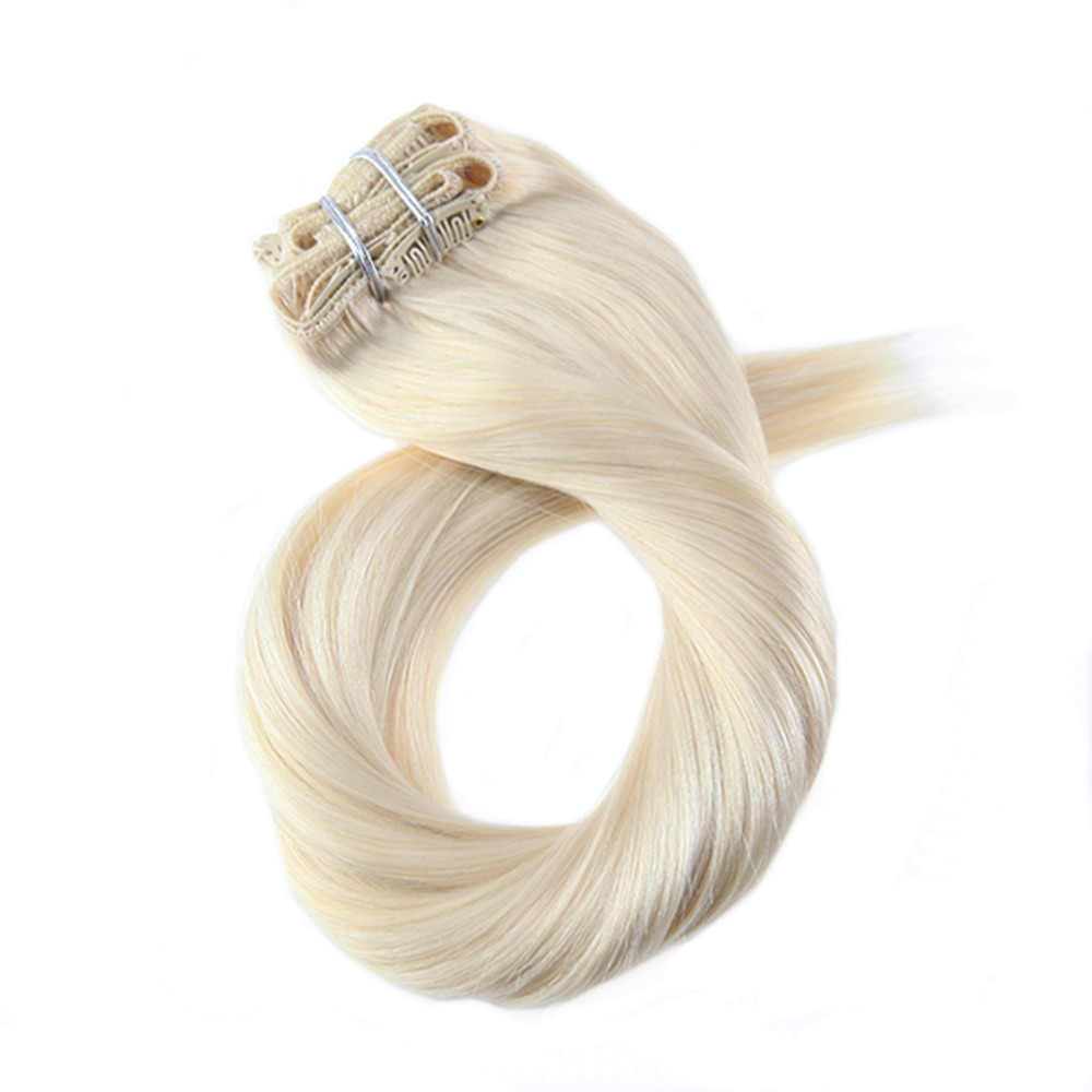 Moresoo Clip In Real Remy Hair Extensions Clip On 100% Human Hair Extenisons 7Pieces/100G Double Weft Hair Extensions