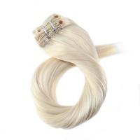 Moresoo Clip In Real Hair Extensions Clip On 100% Human Hair Extenisons 7Pieces/100G Double Weft Hair Extensions