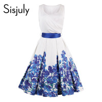 Sisjuly Vintage Dress Royal Blue Flower Print Pin Up Patchwork Summer Blue White Retro Elegant V