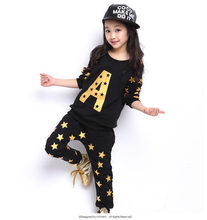 Дети в унисекс одежда комплект для весна и осень Bronzier A со звездами детский свободного покроя спорт / длинная — рукав + брюки