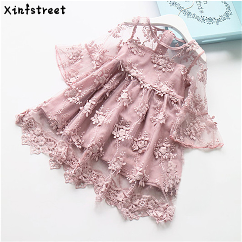 Girls Lace Dresses Princess 2017 New Kids Dress For Girls Party Wedding Flare Sleeve Infant Children Dresses 2-7 Age hayden girls boho ethnic dress designs teenage girls national embroidered dresses flare sleeve loose fit dress for 7 to 14 years