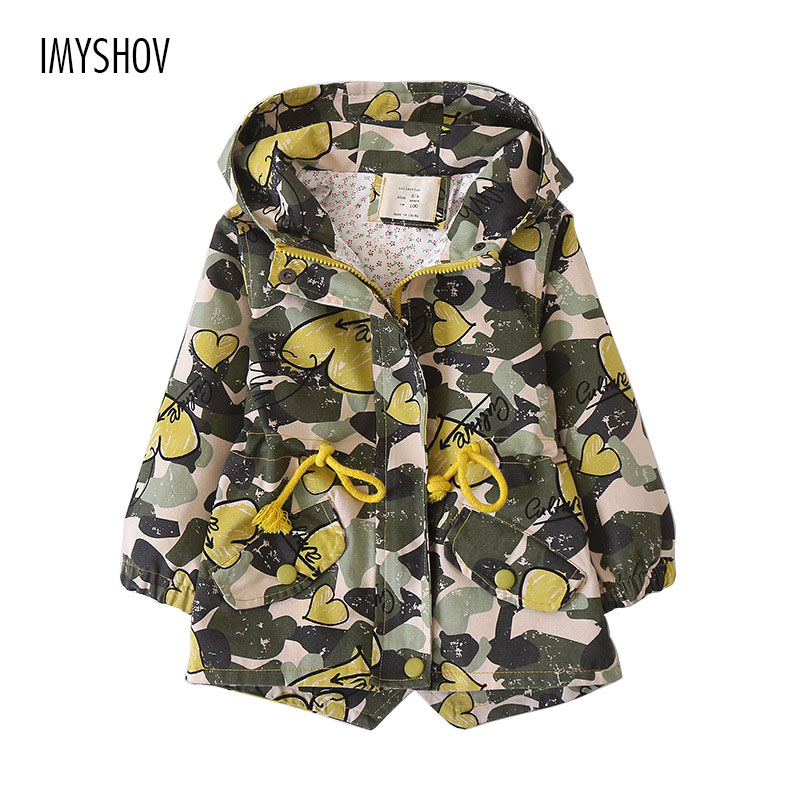 Kids Medium-Long Camouflage Trench Coats For Girls Outerwear Jackets 2018 New Spring Autumn Fashion Children Hooded Windbreaker 2018 children s autumn clothing solid color cartoon trench coats girls casual medium long outerwear