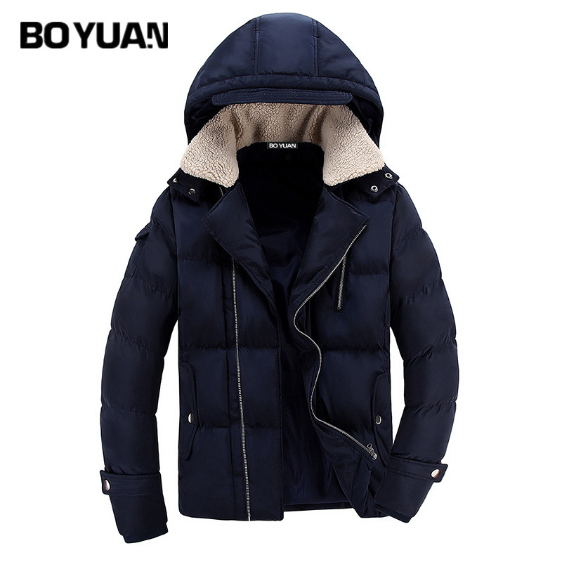 BOYUAN 2017 Polyester Winter Jackets And Coats Solid Thick Warm Fashion Casual Handsome Young Men Parka Fit Snow Cold ZR9038