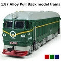 Alloy model trains, 1: 87 alloy pull back train, engine train, classic children's toys, Diecasts & Toy Vehicles, free shipping