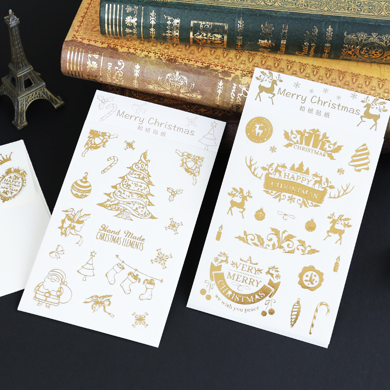Golden Christmas Stickers Modern Gold Christmas Tree Label Tag Decoration Sticker For Kids Party Holiday Post Stationery Gifts
