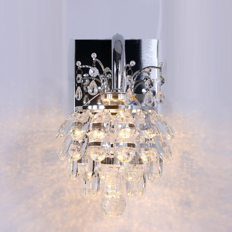 The Living Room Bedroom Bedside Crystal Lamp New Single Head  Aisle Simple Modern Crystal Wall Lamp LED Wall Light For Home round crystal lamp bedroom bedside lamp wall lamp simple modern personality aisle led living room wall