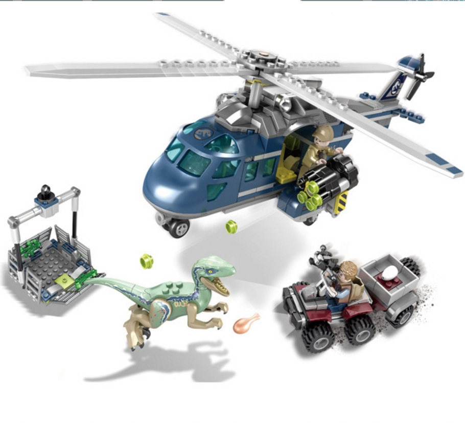 433pcs Blue's Helicopter Pursuit Jurassic World Set Building Blocks Bricks Compatible With Lego 75928