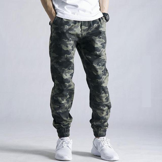 2016 Mens Jogger Autumn Pencil Harem Pants Men Camouflage Military Pants Loose Comfortable Cargo Trousers Camo Joggers urban fit