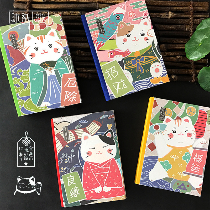 New Japanese lucky cat pattern sketchbook notebook diary book bullet journal hardcover small book diary notebook student gift my beauty diary 10