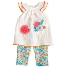 0-7T Toddler Kids Baby Girls Clothes 3D Embroidery Summer Tops Flower Tunic flamingo tassels Vest Boho Beach Pants 2pcs Outfits(China)