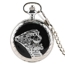 Fashion Stainless Steel Railway Train Quartz Pocket Watch Silver Pendant Necklace for Mens Womens Gifts Watches with Short Chain(China)