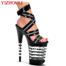 20cm platform sexy shoe Gorgeous Stripe Crystal sandals 8 inch zip back  strap Dance Shoes sexy a2a877cd8b30