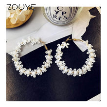 ZOUYE Round White Lace Flower Ear Ring Geometric Eardrop Fairy Cute Romantic Blink Earrings Fashion Jewelry Earring(China)