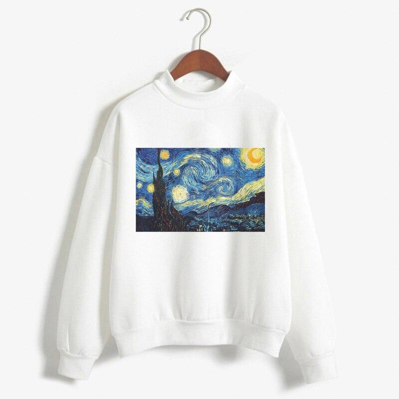 Van Gogh Print Long Sleeve Hoodies Fashion Women Clothes Femme 2018 Winter Cute Casual Sweatshirt invisible bra