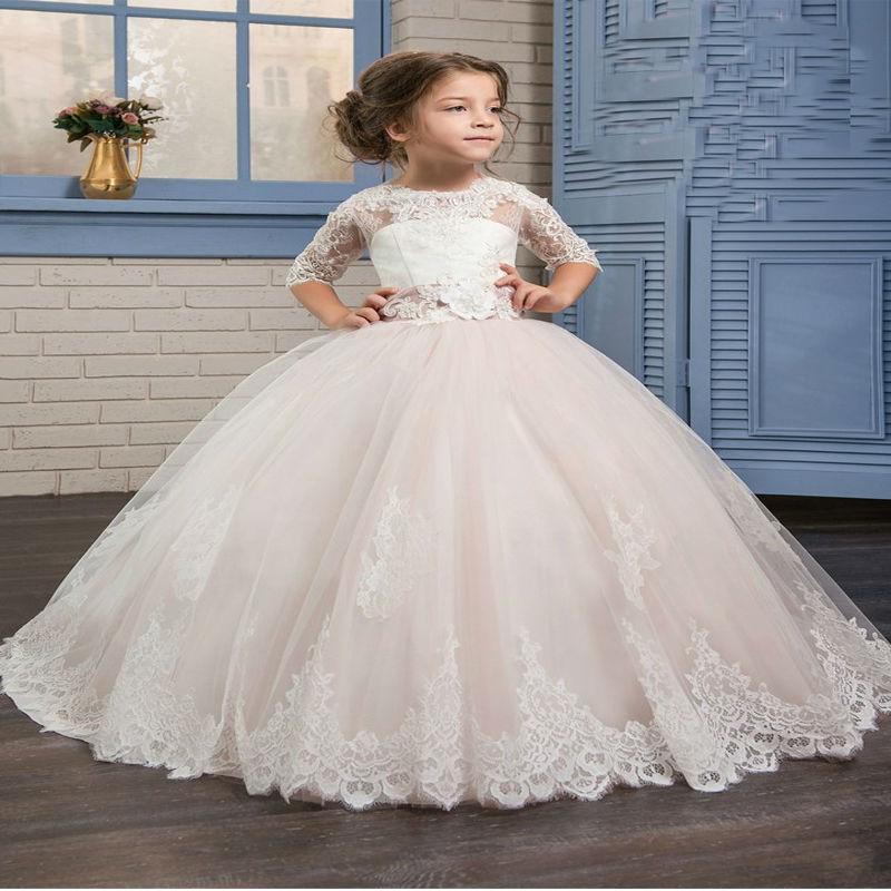 3/4 Sleeve Flower Girl Dresses Ball Gown Princess Dress Lace Children Clothing Ankle-Length Girls White Mother Daughter Dresses цена