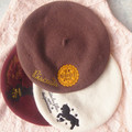 Princess sweet lolita College style embroidery Alice unicorn Winter warm cherry beret AL05