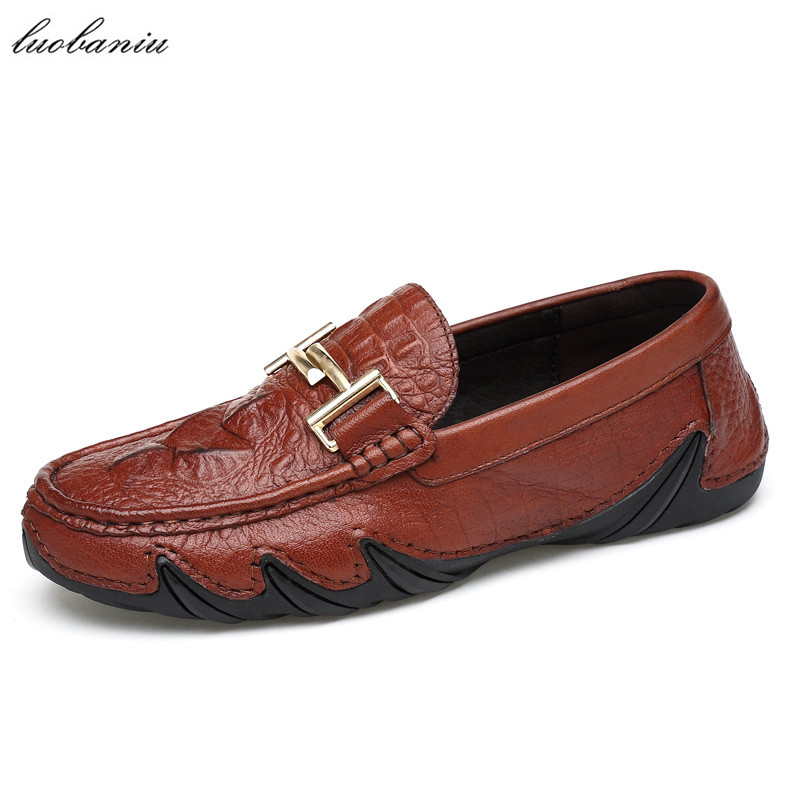 Genuine Leather Men Shoes Casual Moccasins Men Loafers Driving Slip On Men Leather Shoes High Quality men s casual leather loafers shoes genuine emboss crocodile slip on boat shoes penny loafers men s moccasins driving shoes brand