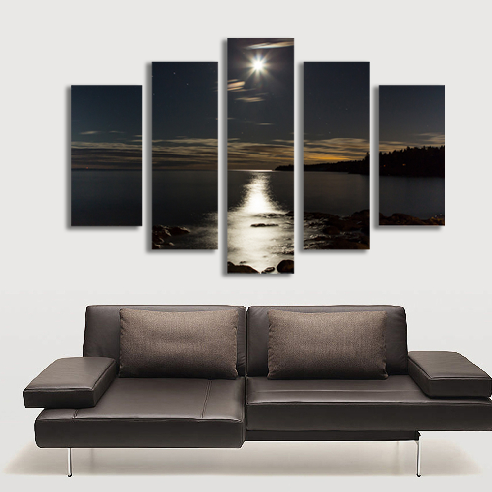 5 Panel Wall Art online get cheap night moon pictures -aliexpress | alibaba group