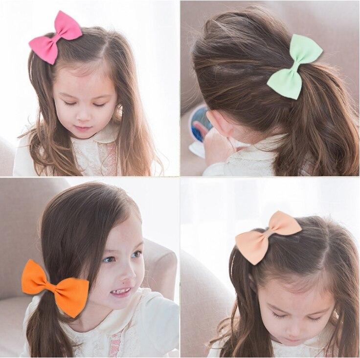 Купить 1 шт маленькие однотонные резинки для волос с бантом девочек