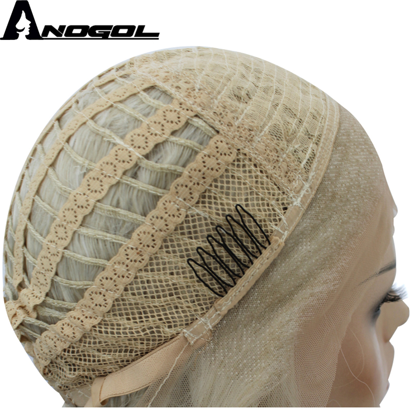 Image 4 - Anogol High Temperature Fiber Fire Blend Orange Short Body Wave Bob Wig Synthetic Lace Front Hair Wigs For Women With Free Part-in Synthetic None-Lace  Wigs from Hair Extensions & Wigs
