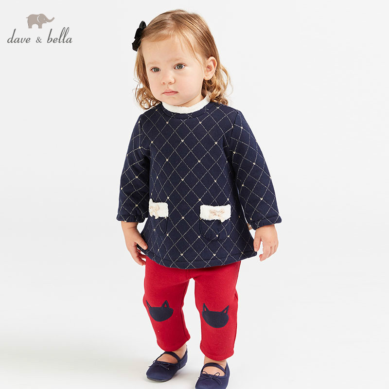 DBM8191 dave bella autumn baby girl fashion clothing sets girls lovely long sleeve suits children print