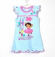 Einzelhandel 100% baumwolle kinder/kinder/mädchen cartoon pyjamas, nachtwäsche, nachthemden, kinder kleid (MOQ: 1 stück)