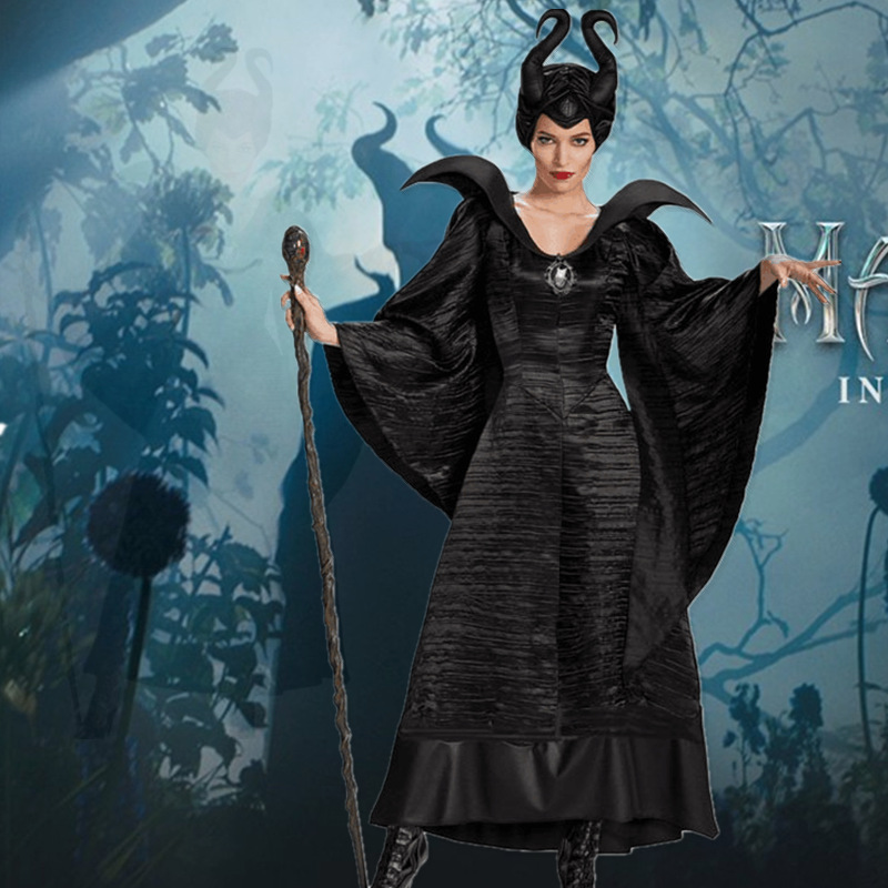 Us 23 39 10 Off Maleficent Costume Adult Women Halloween Witch Cosplay Fairy Tale Sleeping Beauty Curse Witchcraft Black Dress Horns Movie In