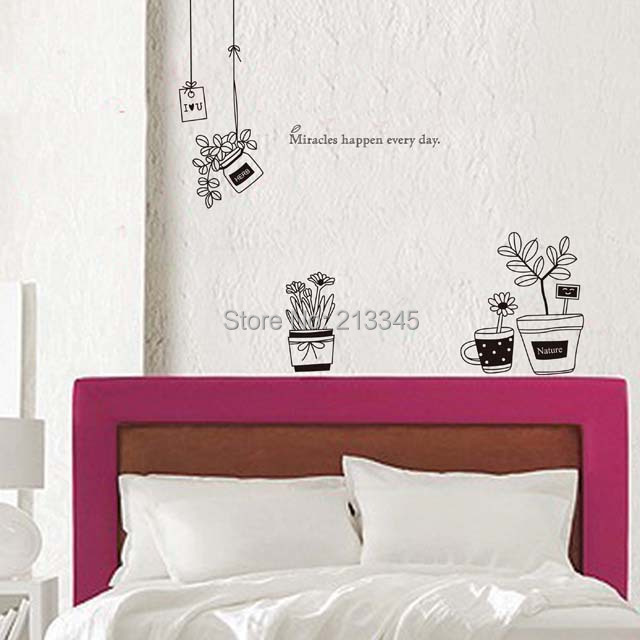 [Saturday Mall] - minimalist fashion black flower pot wall stickers home window glass decor decals environmental removabel 5311