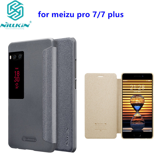 Per il caso di Meizu pro 7 caso della copertura NILLKIN Sparkle copertura di cuoio per Meizu pro 7 più il caso della copertura di vibrazione smart finestra di sonno wake up