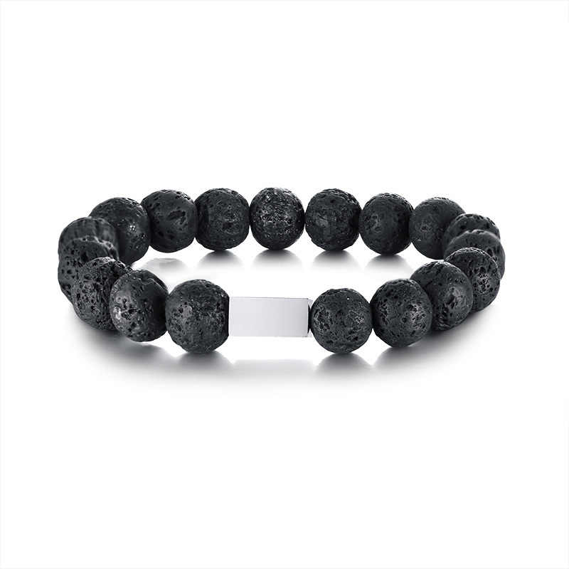 Black Volcanic Lava Stones and Silver Tone Stainless Steel Charm Beaded Bracelet for Men Women Jewelry