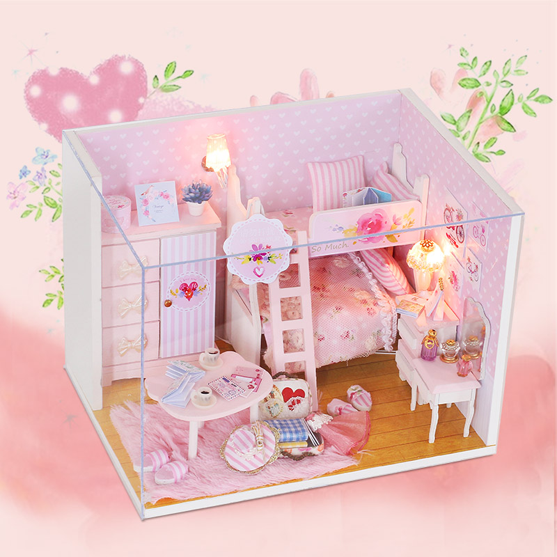 DIY Doll House Doll House Furniture Dollhouse Building Model Gift Toys Miniature House Pink Girl Q010 #E
