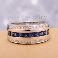 Fancy Solid 14k White Gold 0 80ct Blue Sapphire Diamond Wedding Ring SR0009
