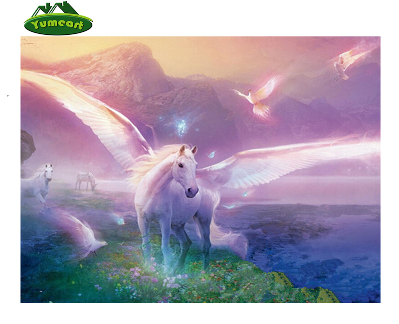 3D DIY Diamond Painting Needlework Diamond Mosaic Pictures Rhinestones Embroidery Fairy with Horse Hobbies and Crafts Home Decor