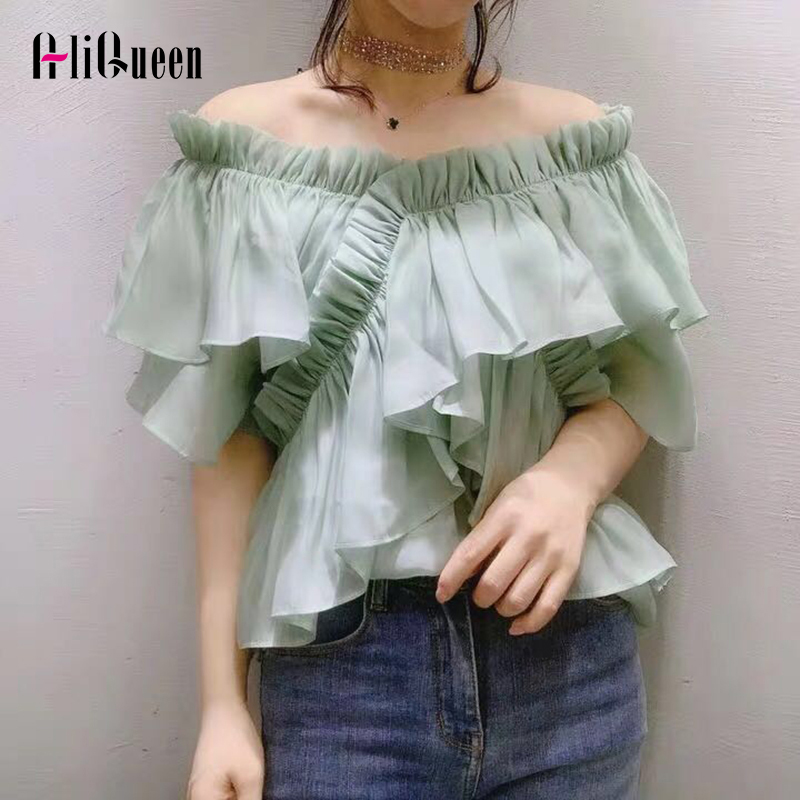 Casual Solid Off Shoulder Top Women Blouse Slash Neck Short Sleeve Ruffles Slim Shirts Female Summer Blusas Mujer De Moda 2019