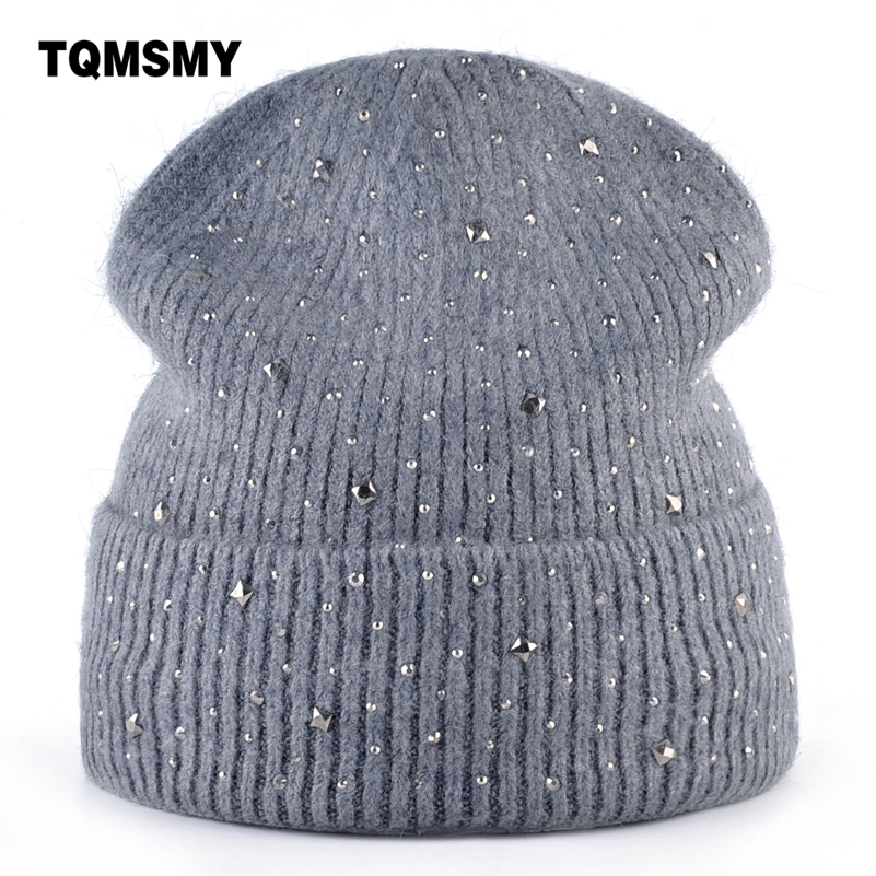 98d396cc5a8 TQMSMY Diamonds stripe hats for women winter Beanies girls Knitting wool  skullies woman s double layer bone turban cap gorros