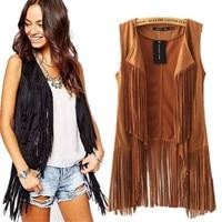 2018 autumn winter Leather Vest Women suede ethnic sleeveless tassels fringed vest cardigan Retro Suede leather vest