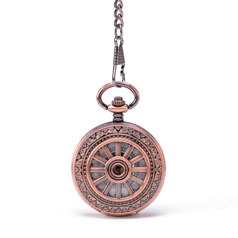 Mens pocket watches with chain images mens gold pocket watches gifts - Compass Rose Gold Men Women Gift Pocket Watch With Necklace Key Chain Mechanical Hand Winding Hollow