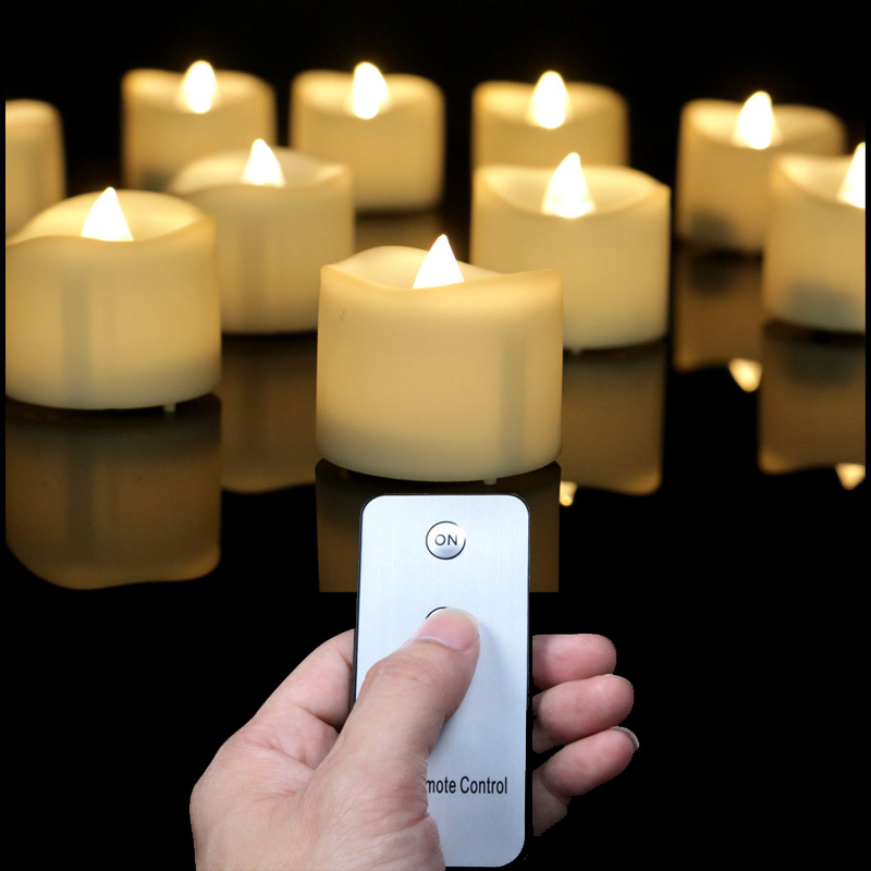 Pack of 12 Warm White Flickering Remote Flameless LED Birthday Candles,Round Battery Powered Tea Lights,Decorative Candles