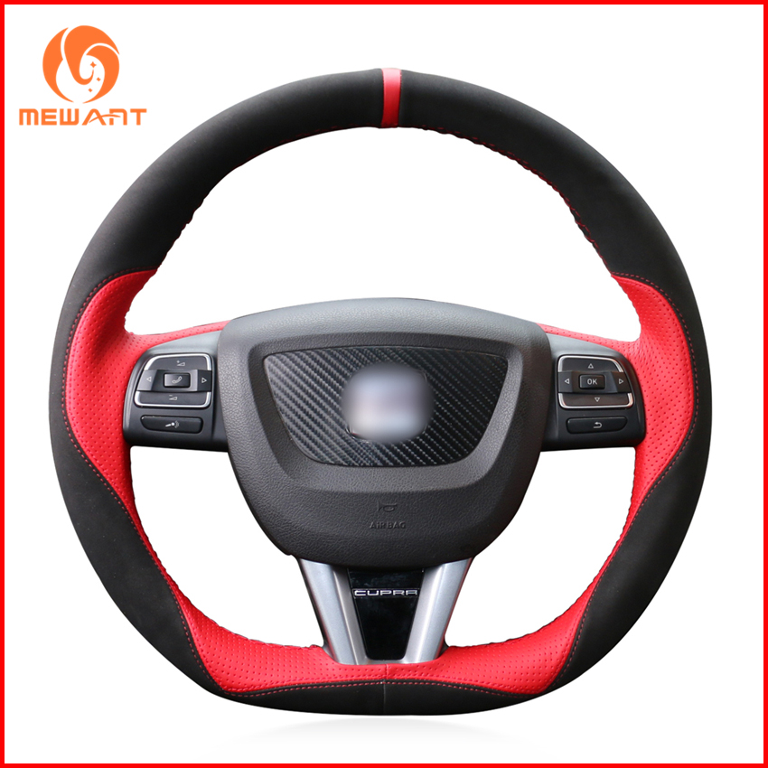 MEWANT Black Suede Red Leather Car Steering Wheel Cover for Seat Leon 2009 2010 2011 2012