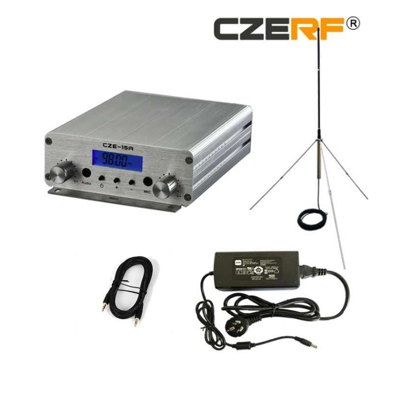 15W FM  broadcast transmitter FM PLL stereo 87MHz-108MHz transmitter Audio station + PowerSource + GP 1/4 wave antenna hot sell
