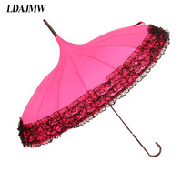 Princess Lace Umbrella Rain Women Fashion Wedding Pagoda Parasol Long Handle Umbrella Windproof Sunny And Rainy